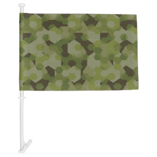 Camouflage geometric hexagon car flag