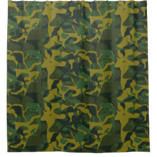 Camouflage Military Pattern Colorful Forest Greens Shower Curtain