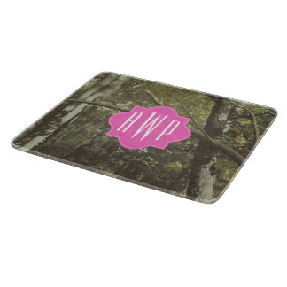 Camouflage + Pink Monogram Cutting Board