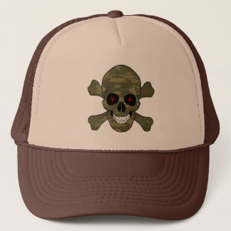 Camouflage Red Eyes Skull And Crossbones Hat
