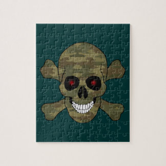 Camouflage Red Eyes Skull And Crossbones Puzzle