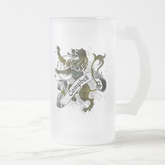 Campbell Tartan Lion Frosted Glass Beer Mug