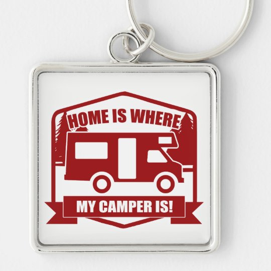 Camper van Silver-Colored square key ring