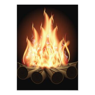"CAMPFIRE VECTOR LOGO HOT FLAMES BLACK BACKGROUNDS 5"" X 7"" INVITATION CARD"