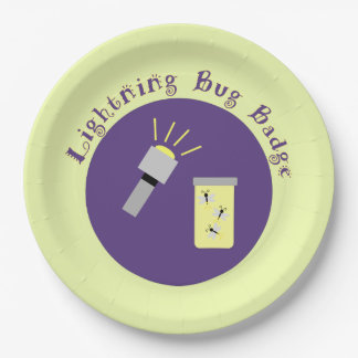 Camping Badge Lightning Bug Paper Plate