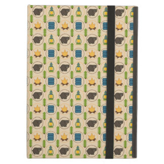 Camping Bear Rustic Pattern iPad Air Cover