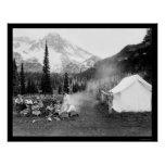 Camping in Indian Henry, Mount Rainier, WA 1922 Poster