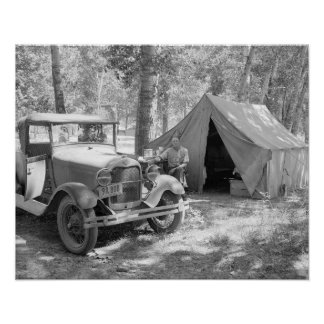 Camping in the Yakima Valley, 1936. Vintage Photo Poster