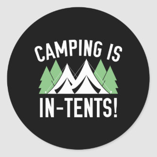 Camping Is In-Tents! Classic Round Sticker