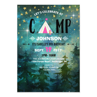 Camping Night Time Forest Wilderness Birthday Card