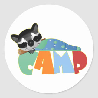 Camping Racoon Classic Round Sticker