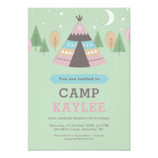 Camping Teepee Tent Birthday Party Card