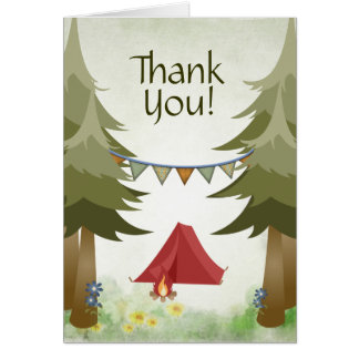 Camping Tent Campfire Trees Woodland Thank You Card