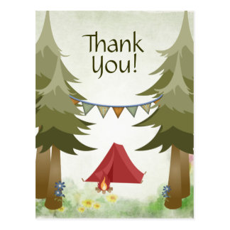 Camping Tent Campfire Trees Woodland Thank You Postcard