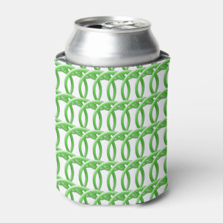 Can/Bottle Coolder - Wicker Look Green Rings Can Cooler