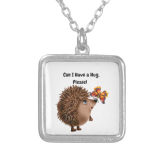 Can I Have a Hug Hedgehog Butterfly Friendship Silver Plated Necklace