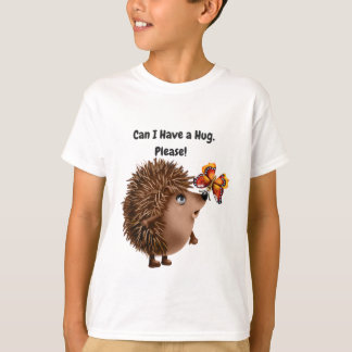 Can I Have a Hug Hedgehog Butterfly Friendship T-Shirt