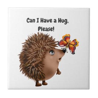 Can I Have a Hug Hedgehog Butterfly Friendship Tile