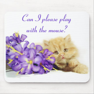 Can I please play with the mouse? Cute Cat Mousepa Mouse Pad