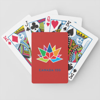 Canada 150 Official Logo - Multicolor and Red Bicycle Playing Cards