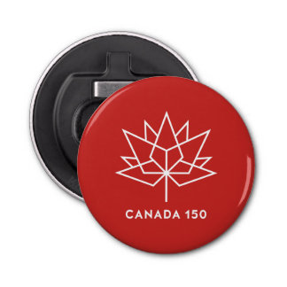 Canada 150 Official Logo - Red and White Bottle Opener