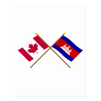 Canada and Cambodia Crossed Flags Postcard