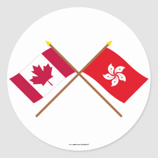 Canada and Hong Kong Crossed Flags Classic Round Sticker