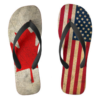Canada and USA Flag Custom Flip Flops Thongs