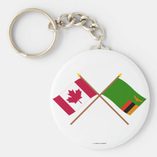 Canada and Zambia Crossed Flags Basic Round Button Key Ring