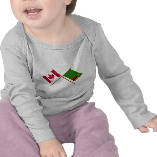 Canada and Zambia Crossed Flags Tshirt