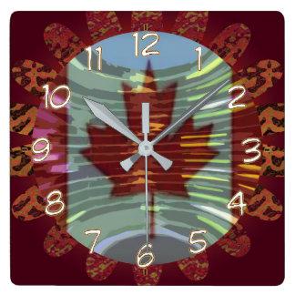 Canada Canadian MapleLeaf Maple Leaf Flag Square Wall Clock