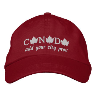 Canada Embroidered Red Ball Cap - Add your City Embroidered Baseball Caps