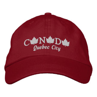 Canada Embroidered Red Ball Cap - Quebec City Embroidered Cap