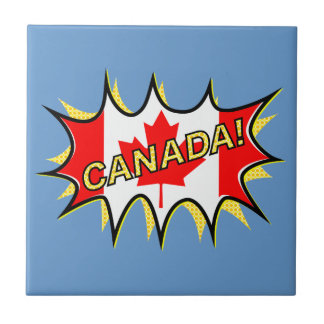 Canada Flag Kapow Comic Style Star Small Square Tile