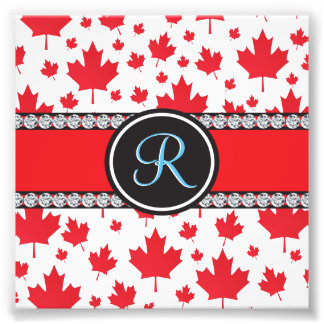 Canada Maple Leaf Abstract Diamond Monogram Art Photo