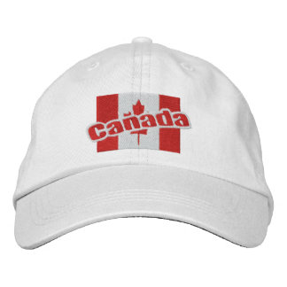 Canada Patriotic Flag And Text Embroidered Cap