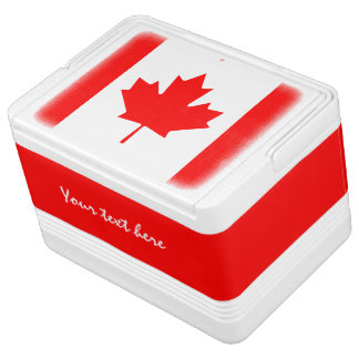 Canadian flag can cooler box for Canada Day Igloo Ice Chest