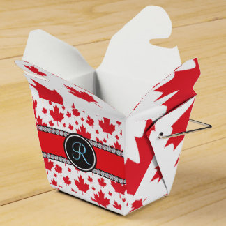Canadian Flag Trendy Maple Leaf Abstract Monogram Favour Box