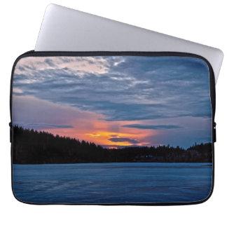Canadian Nature Landscape Winter Lake Sunset Laptop Sleeves