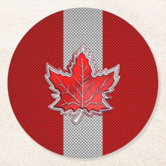 Canadian Red Maple Leaf on Carbon Fiber style Round Paper Coaster
