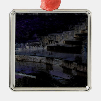 Canal by night Silver-Colored square decoration