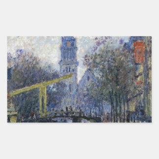 Canal in Amsterdam by Claude Monet Rectangular Sticker