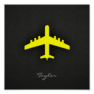 Canary Yellow Airplane Poster