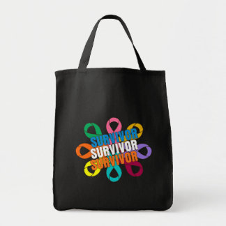 Cancer Awareness Flower Ribbon -  Cancer Survivor Canvas Bag
