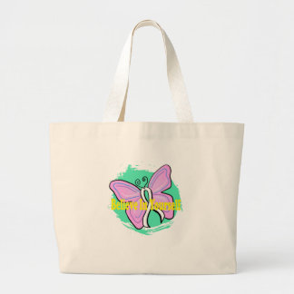 cancer butterfly jumbo tote bag