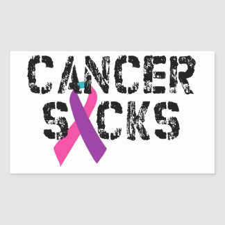 Cancer Sucks - Thyroid Cancer Ribbon Rectangular Sticker