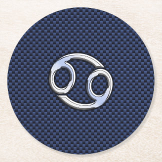 Cancer Zodiac Symbol Navy Blue Carbon Fiber Print Round Paper Coaster