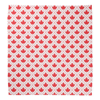 Candian Maple Leaf Red and White Diamond Pattern Bandana