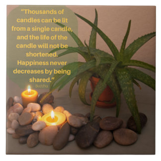 Candle and Aloe Photograph with Buddha Quote Large Square Tile
