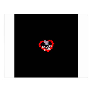 Candle Heart Design For Wisconsin State Postcard